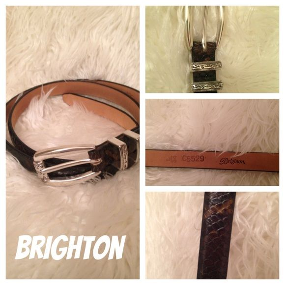 Brighton silver buckle snakeskin belt This belt is beautiful! In excellent condition. It is genuine snakeskin. Brown, black and green color. Silver buckle. Size large 34. No bends, creases or wear on the holes or anywhere on the belt. Brighton Accessories Belts