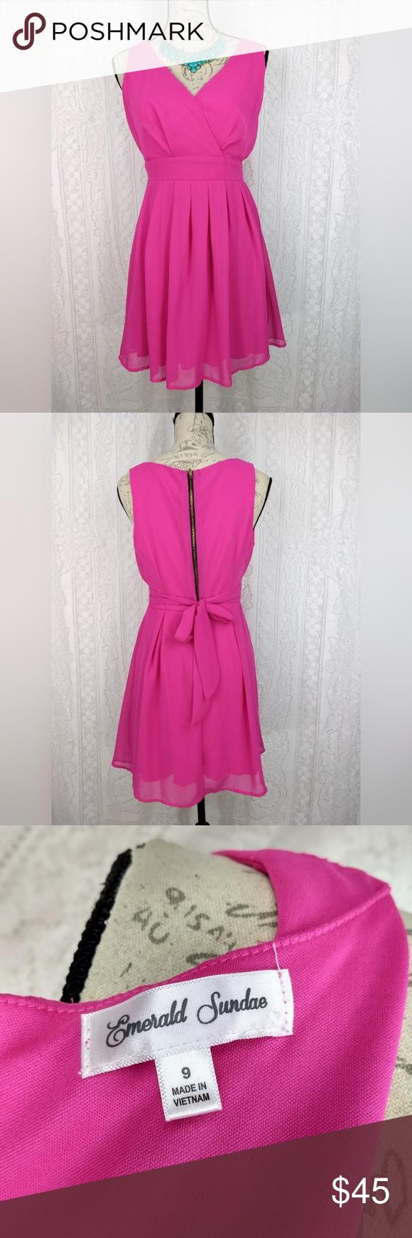 Emerald sundae hot pink cocktail dress jr size my posh closet