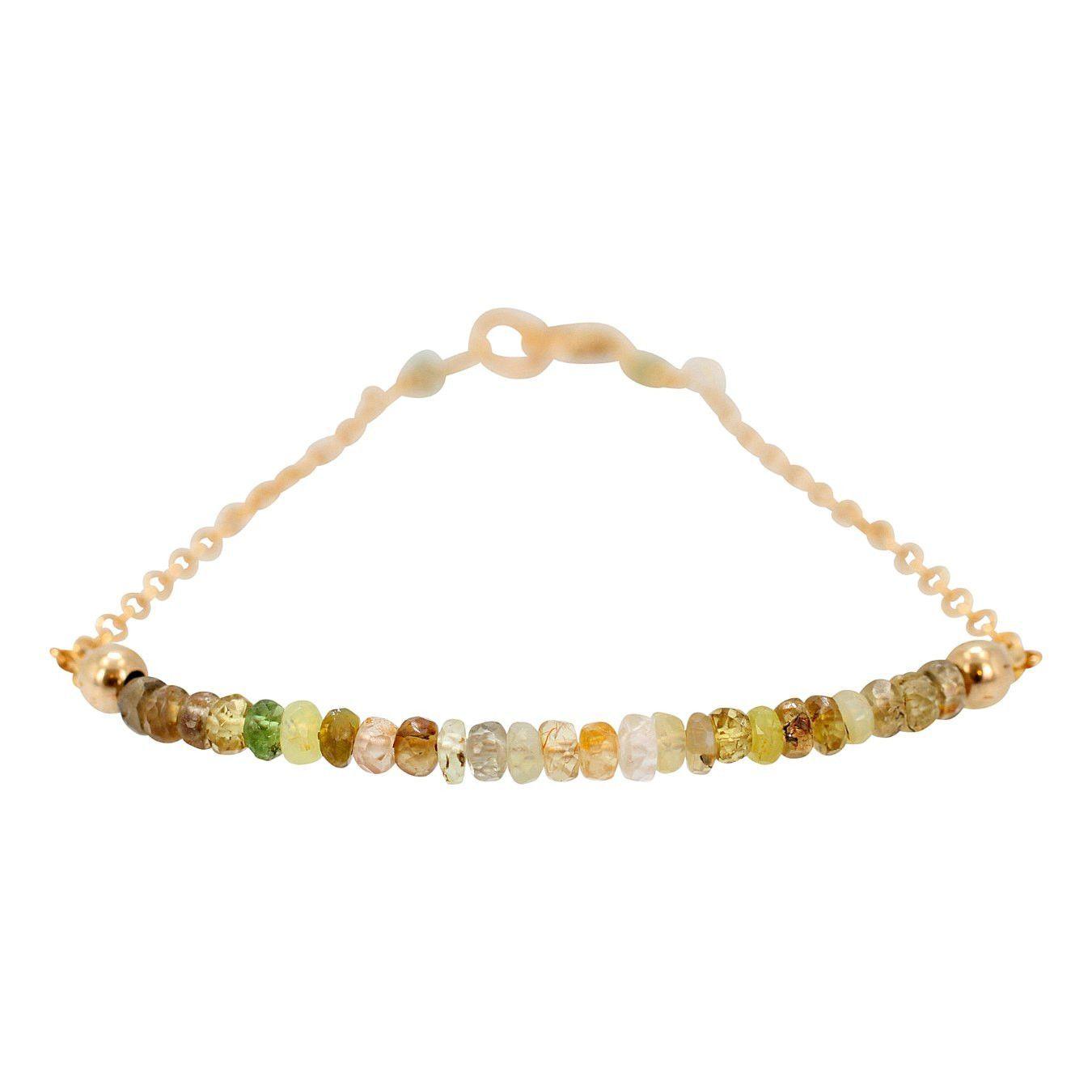 Green and Gold Chrysoberyl Gemstone Bracelet, #7070S