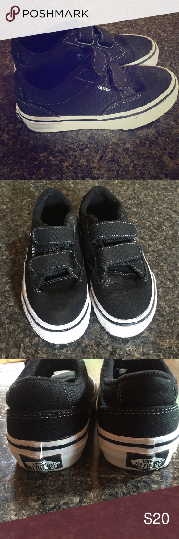 adcc9a4b6a Boys Vans Sneakers Boys Black Vans sneakers with Velcro fasteners