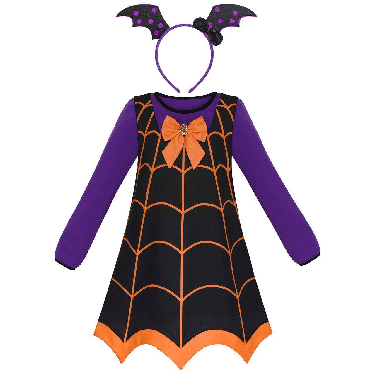 Girls Dress 3 Pieces Vampire Girl Halloween Costume Headband Size 2