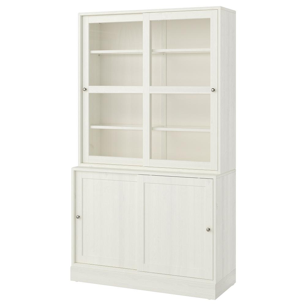 Havsta Storage With Sliding Glass Doors White 47 5 8x18 1 2x83 1