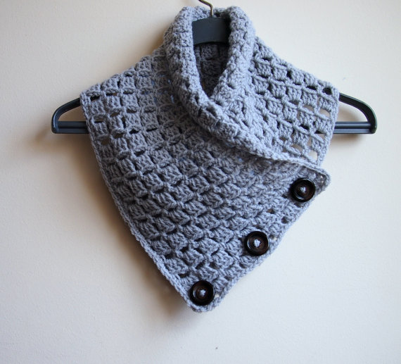 Crochet Pattern Button Cowl Man Neckwarmer Men Scarf Woman Cowl