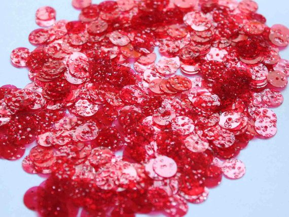 100 Round Red transparent  Sequins by idea2sequins on Etsy
