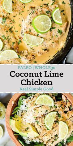 Kokos-Limetten-Hähnchen (Paleo, Whole30 + Keto Coconut Lime Chicken (Paleo, Whole30 + Keto)        Thailändisches Essen ist eines der Genres von Essen, das ich wirklich liebe und das sich für mich immer wie ein Genussmittel anfühlt! Dieses freundliche Kokos-Limetten-Hähnchen von Paleo und Whole30 ist so aromatisch, frisch und sättigend! Es ist ein leichtes Abendessen unter der Woche und ein gesundes Thai-Gericht! |  whole30