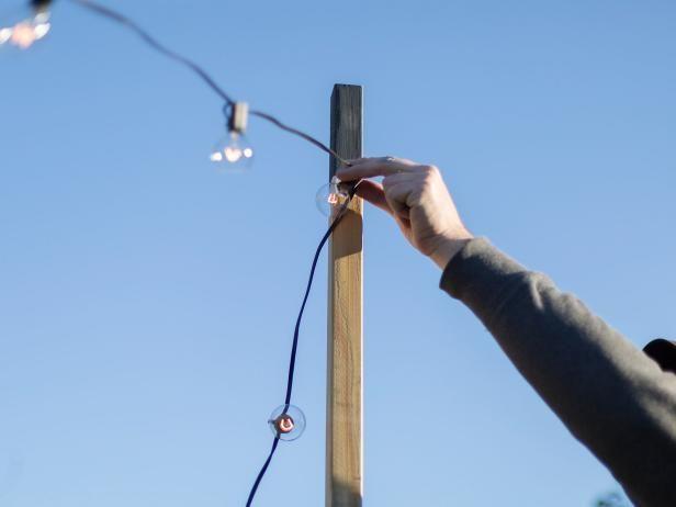 String Light Solution Hang Patio Lights Using Planters