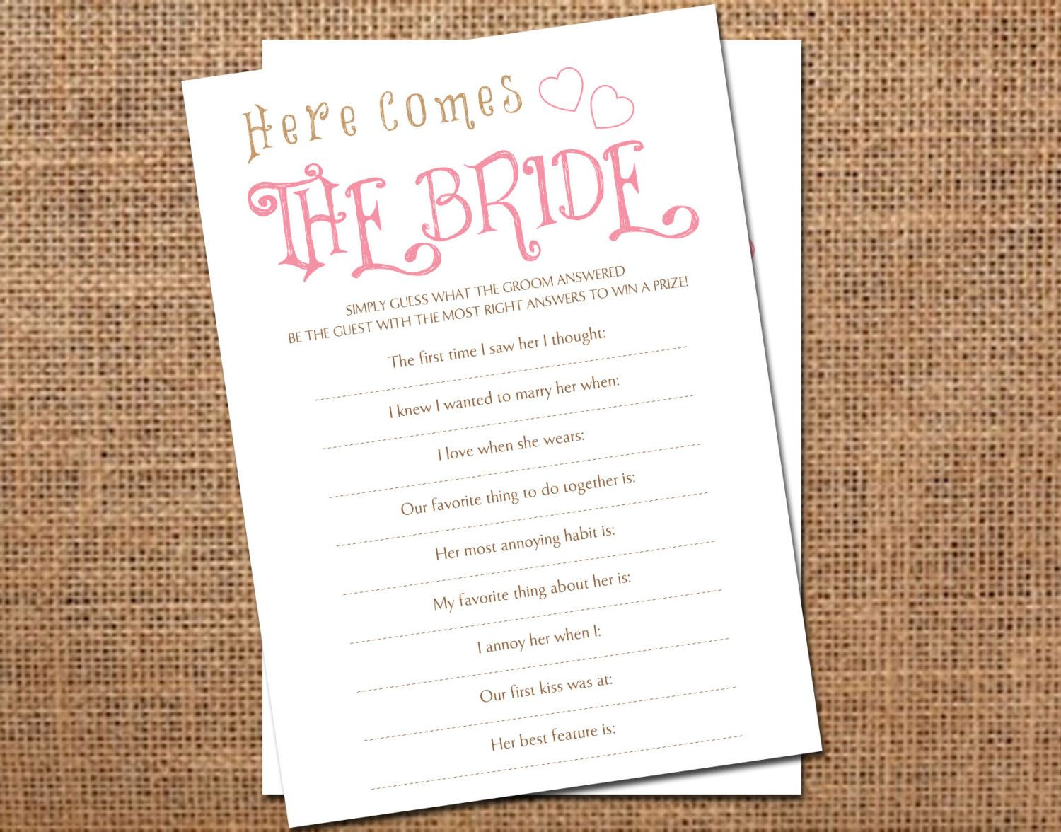 Instant Download Printable Bridal Shower Game By
