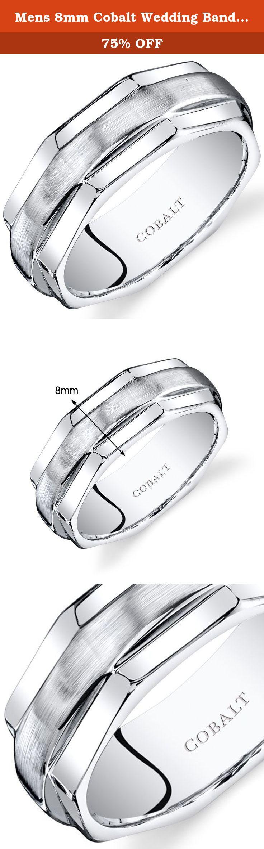 Mens 8mm Cobalt Wedding Band Ring Comfort Fit Hexagonal