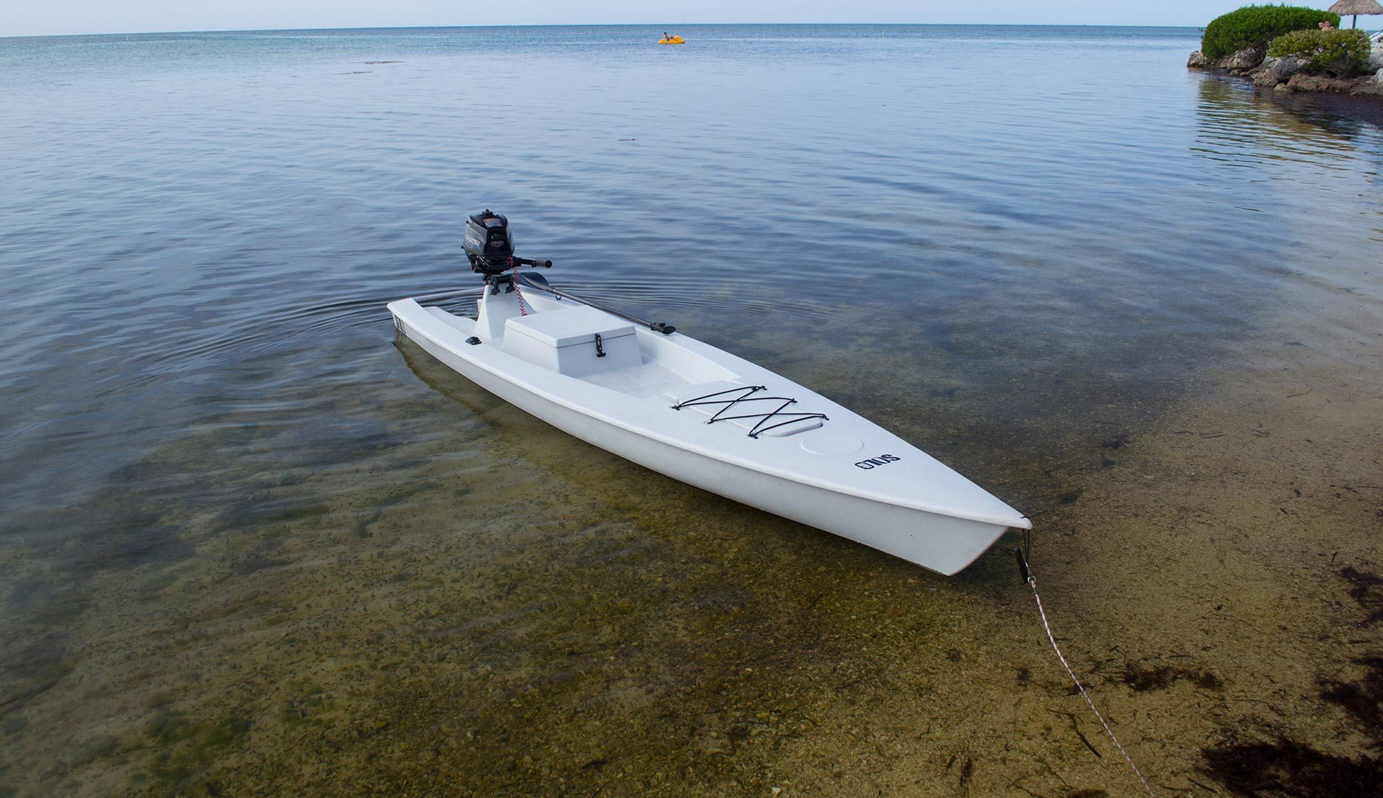 Solo skiff a fishing kayak power boat and sup in one for Build fishing boat