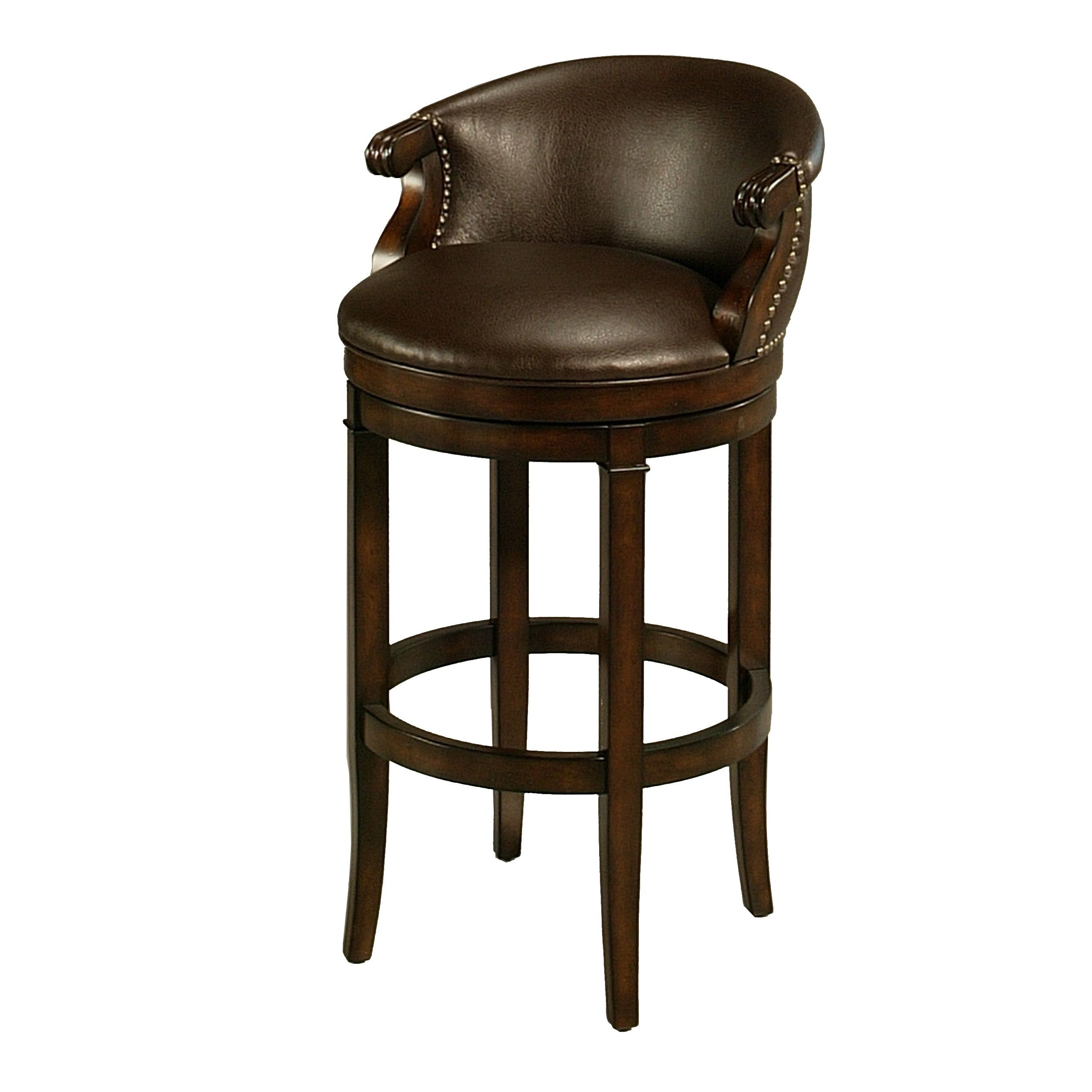 Princetown Distressed Cherry Woodfaux Leather Swivel Stool With