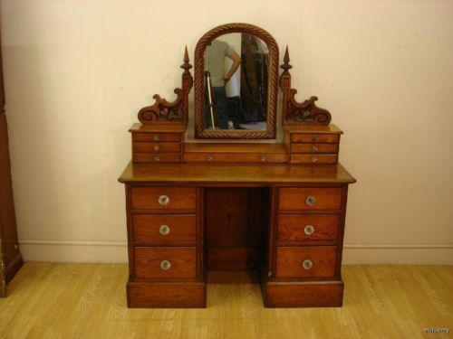 Victorian Gothic Pitch Pine Dressing Table Chest Ebay