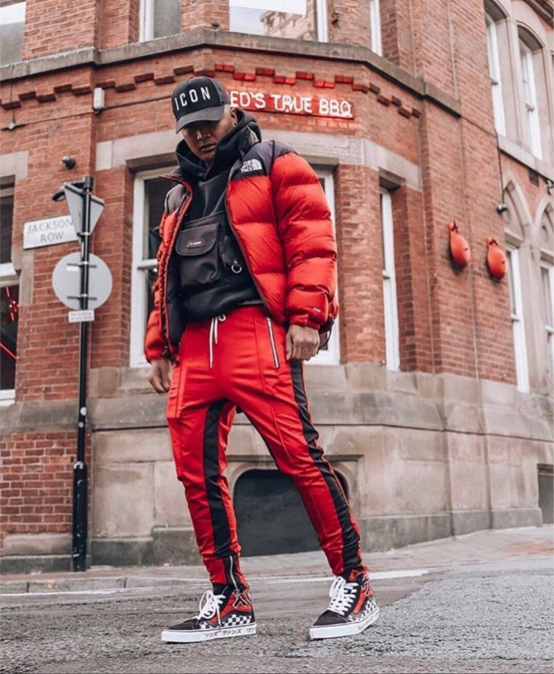 North Face Red Black Puffer Jacket Outfit Red Puffer Jacket Mens Outfits [ 1312 x 1080 Pixel ]