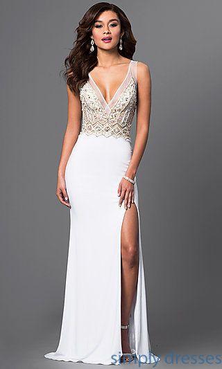 Floor-Length White Designer Prom Dress with Jewels | Pinterest