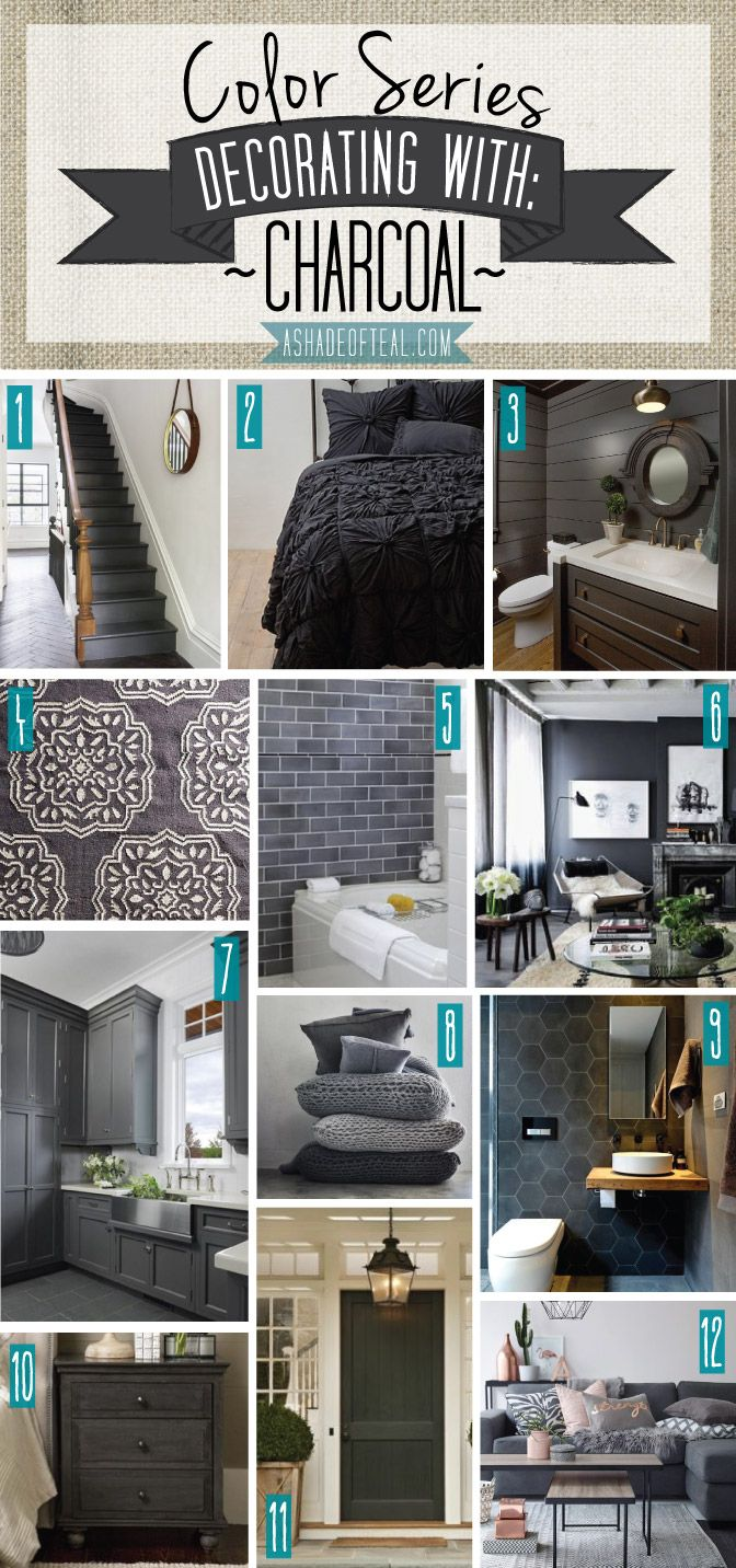 Color Series; Decorating with Charcoal | Black dark, Dark grey and ...