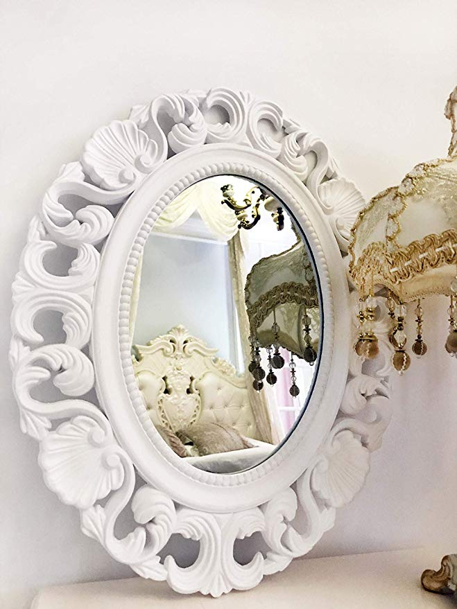 Amazon Com Basswood Hunters Oval Vintage Decortative Wall Mirror White Wooden Frame Antique Princess D Mirror Wall Princess Decorations Living Room Playroom