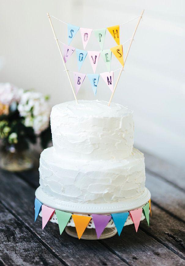 Cute Cake Topper Diy Vanilla Wedding Bunting