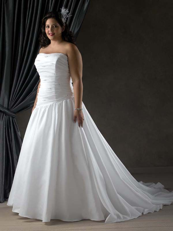 Strapless Dropped Waist Ball Gown Plus Size Beading and Pleating Taffeta Wedding Dress