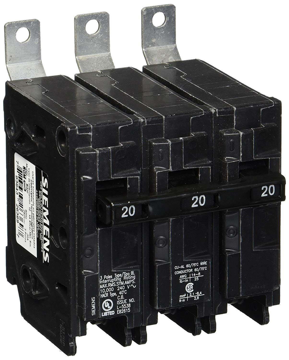 Siemens B320 20 Amp Three Pole 240 Volt 10kaic Bolt In Breaker You Can Find More Details By Visiting The Image Link This Is An Affil Siemens Breakers Pole
