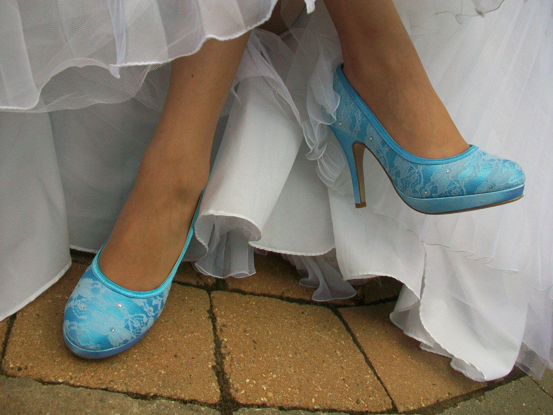 Sale wedding blue shoes lace platform closed toe by parisxox