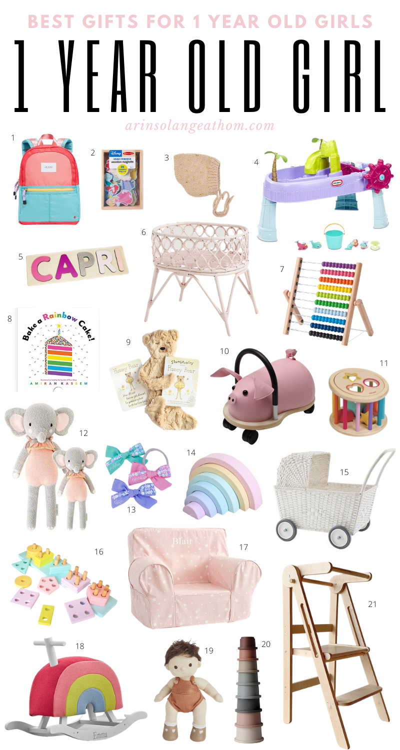 Best gifts for a 1 year old girl. Check out this gift guide for fun and useful gifts for your toddler girl. #oneyearold #oneyearoldgirl #giftguide