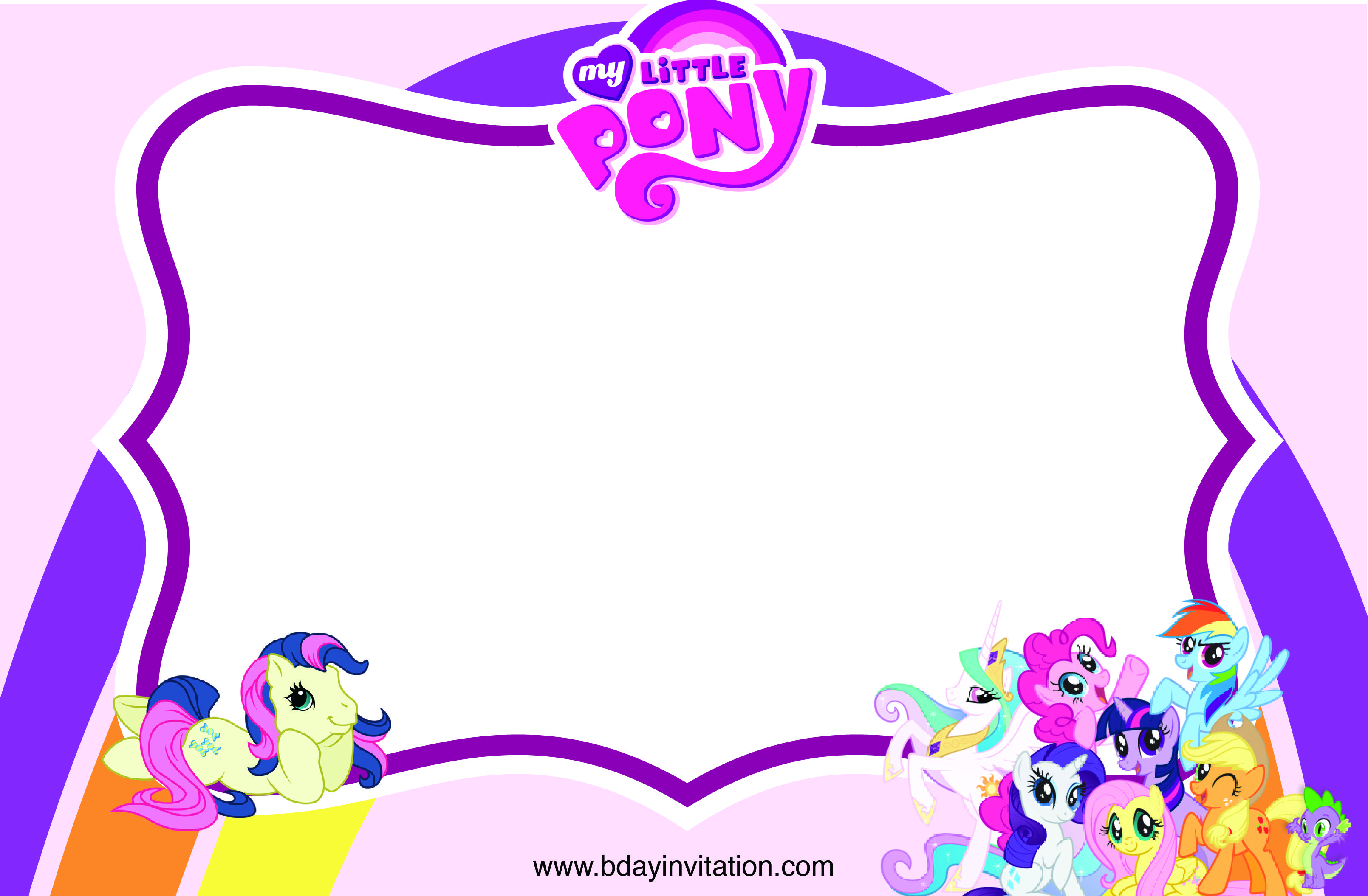 Cool FREE Printable My Little Pony Birthday Invitation Template
