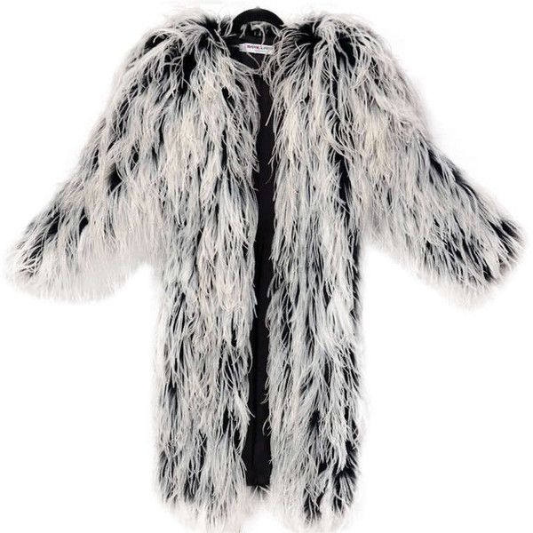 f49669b704f Preowned Rare 60-s Ysl Ostrich Feather Coat (14,970 BAM) ❤ liked on  Polyvore featuring outerwear, coats, jackets, coats & jackets, grey, gray  coat, yves ...