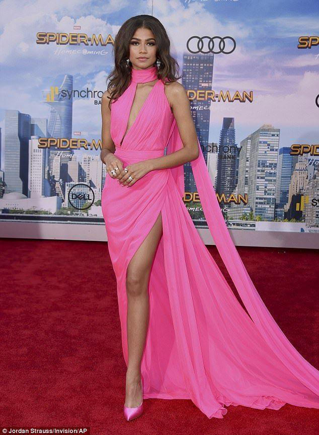Zendaya dazzles in flowing pink gown with thigh slit at Spider-Man ...