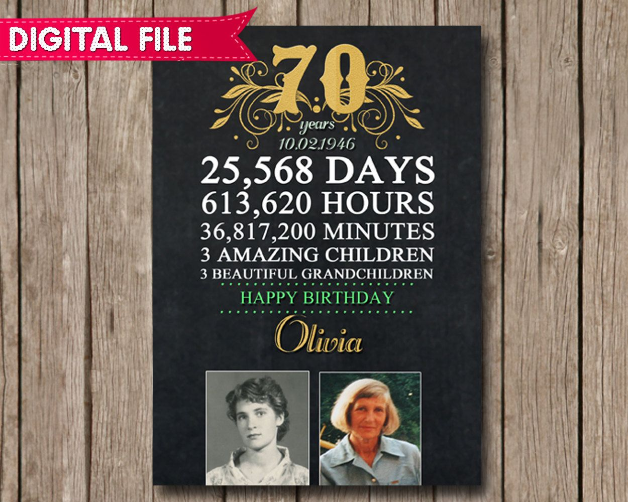 70th birthday photo personalized poster chalkboard sign