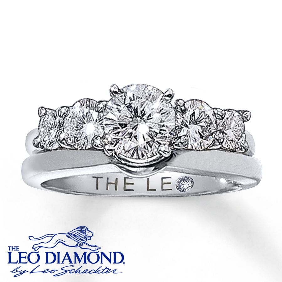 Leo Diamond Enhancer Ring 34 ct tw Roundcut 14K White Gold Leo