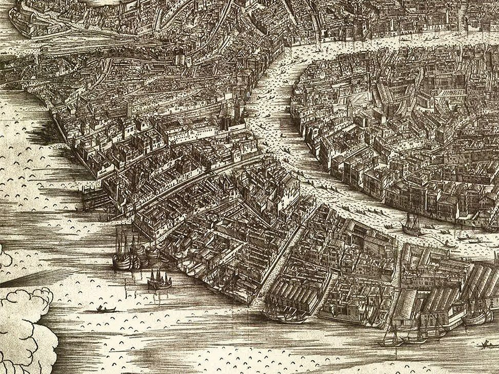 Made In Jacopo DeBarbaris Woodcut Map Of Venice Is The - Map of venice 1500