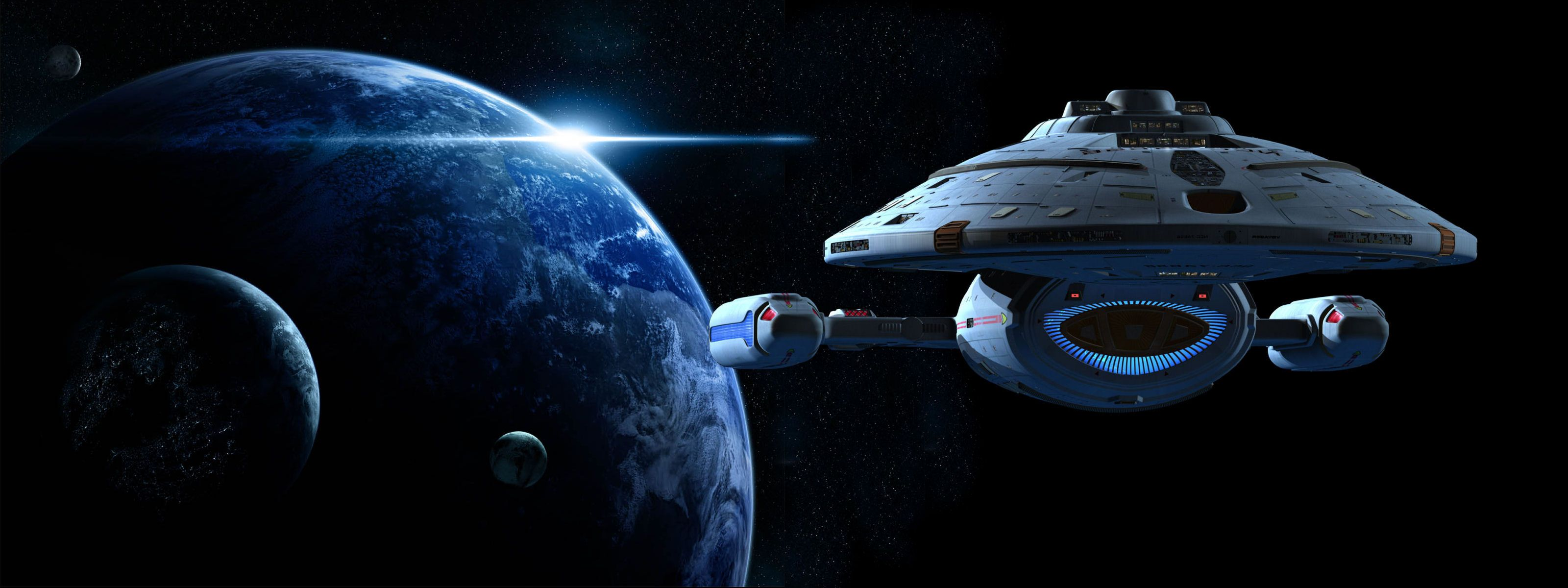 Star trek voyager spacecraft - Starship Voyager Star Trek Voyager Dual Screen Wallpaper Voyager Leaving For Home
