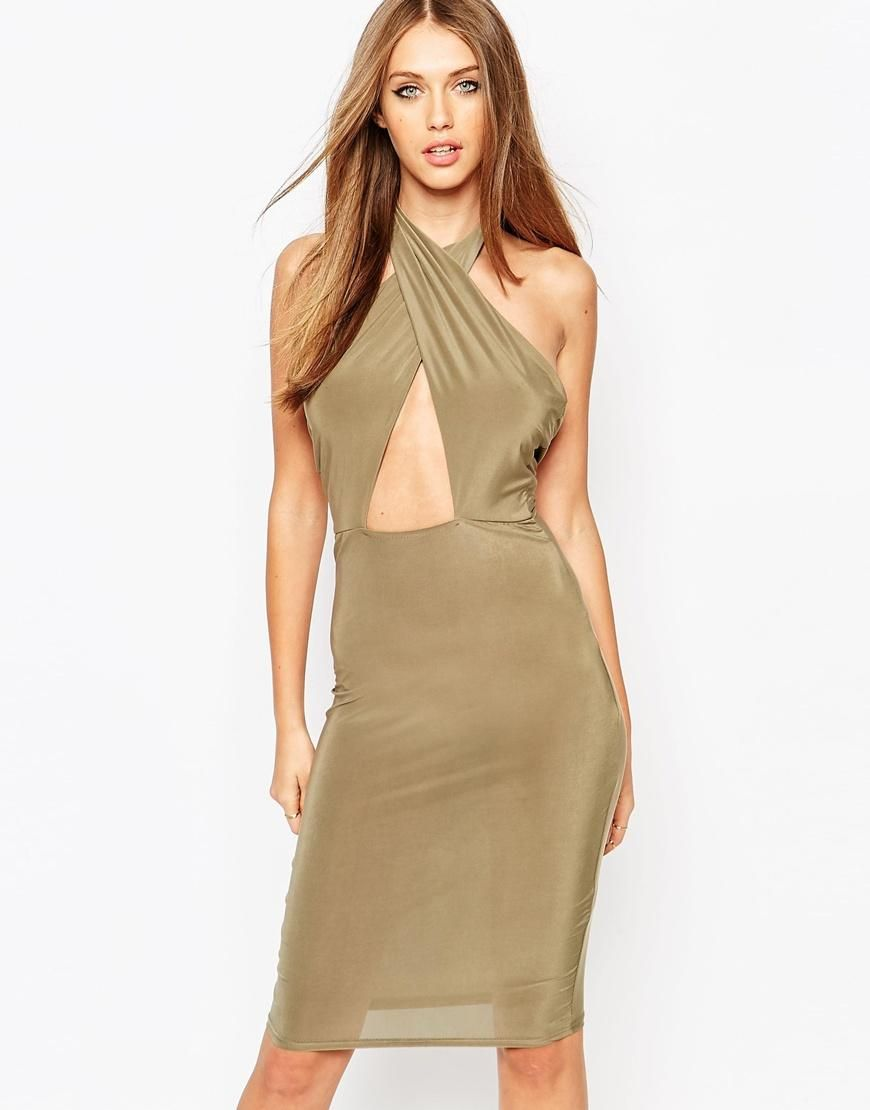 2792e611e50b Missguided | Missguided Slinky Cross Front Halterneck Cut Out Midi Dress at  ASOS