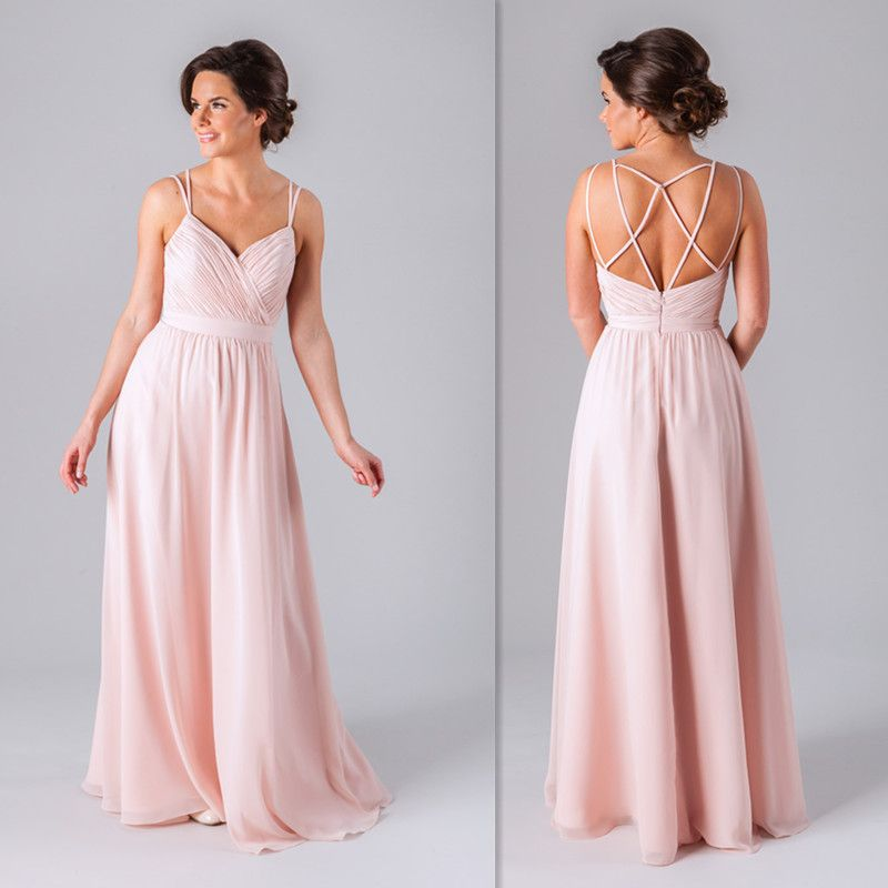 7b3d57dd4f Fat Bridesmaid Dresses 2016 Pink Chiffon Spaghetti Straps Open Back Ruched  Wedding Party Gowns Long Plus Size Party Dress