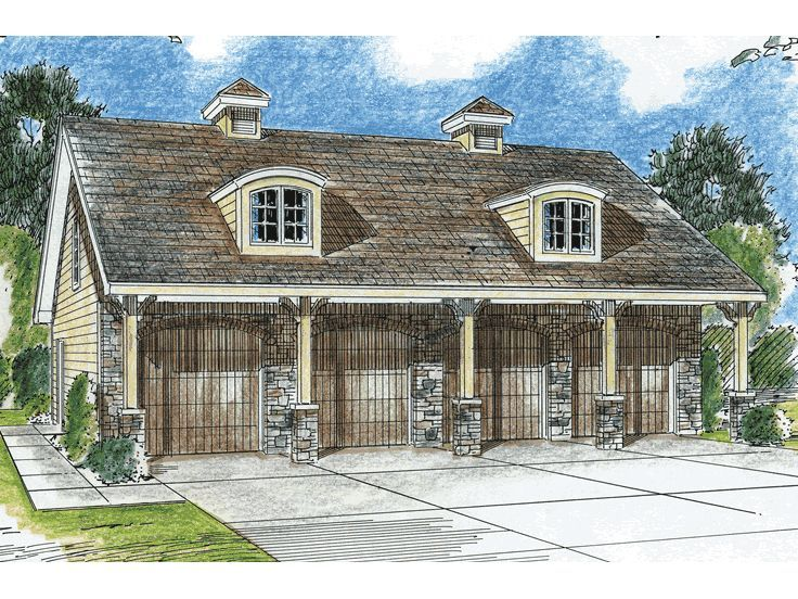 Plan 050g 0001 garage plans and garage blue prints from for 4 car garage plans