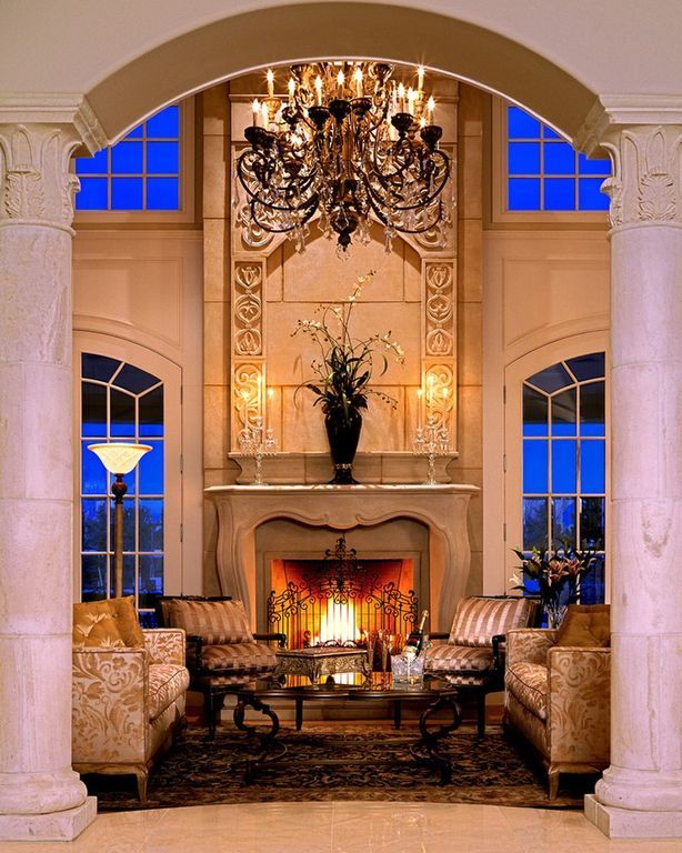 Traditional Living Room with Double height living room ...