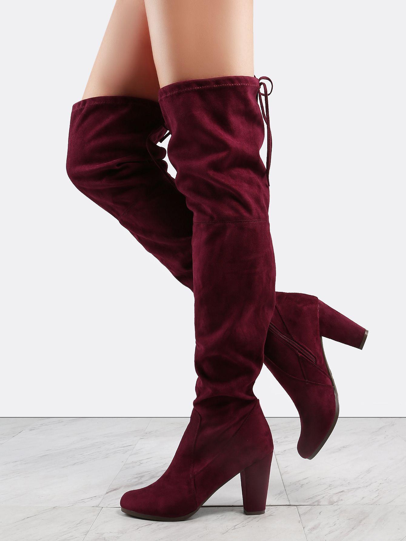 9f565b7f76 Almond Toe Thigh High Boots WINE -SheIn(Sheinside) | Crazy Cool ...