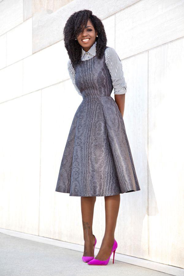 18269e935f3c Striped Shirt + Fit & Flare Midi Dress   My Style   Fashion, Midi ...