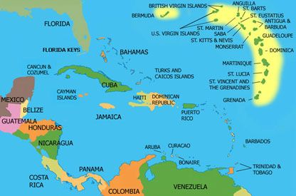 The Caribbean Sea covers an area of 1,063,000 sq. miles, bounded by ...