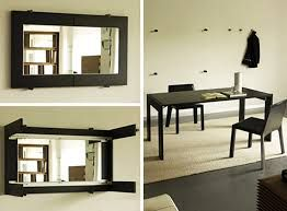 Fold Out Table From Wall Folding Dining Turns Into A Mirror By Porada Designrulzcom