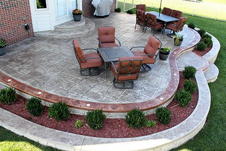 Stamped Concrete Patios Farmington Hills, MI Biondo Cement With Built In  Flower Bed