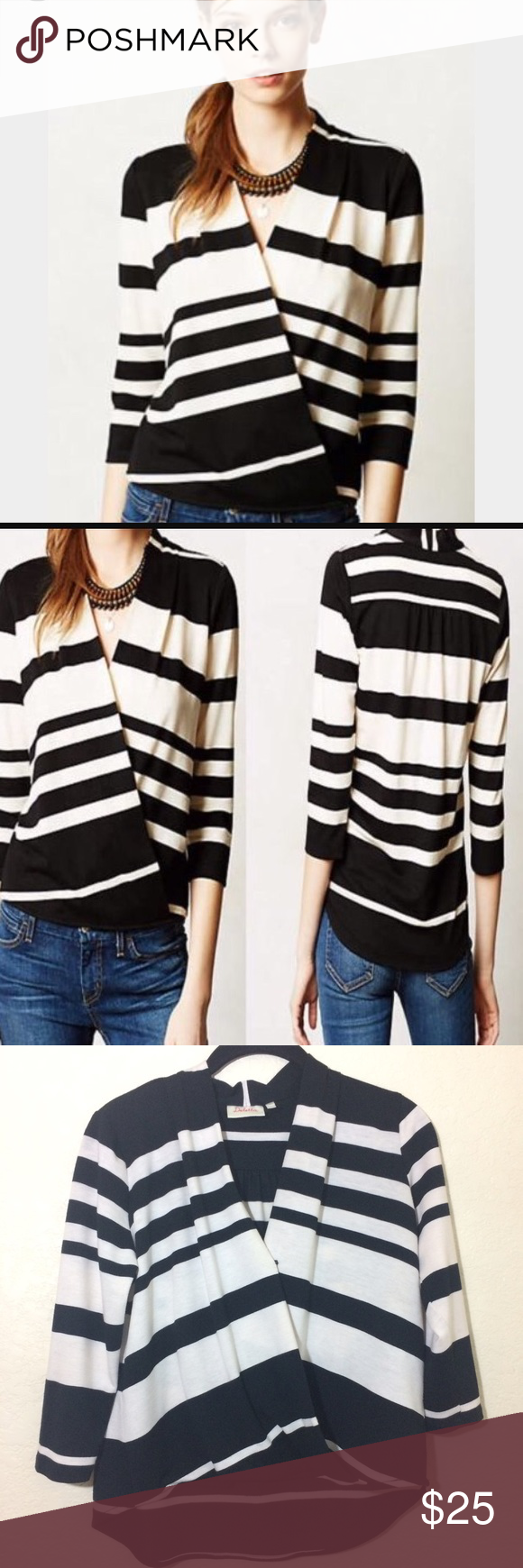 Anthropologie Deletta Striped Faux Wrap Top - Hi Lo Hem. Single snap closure in front.  - Preowned Condition. No rips or stain. No Trades. Anthropologie Tops Blouses