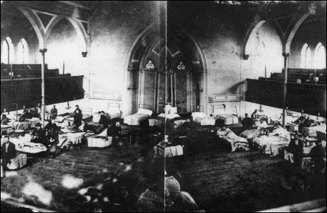 This is a photo of a Confederate Hospital in a Maryland Lutheran Church. The Presbyterian hospital in Warrenton was set up similar to this and divided into several small wards.