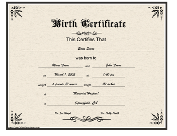 Designed To Look Formal And Professional, This Birth Certificate Is Written  In Gothic Lettering.  Baby Certificate Maker