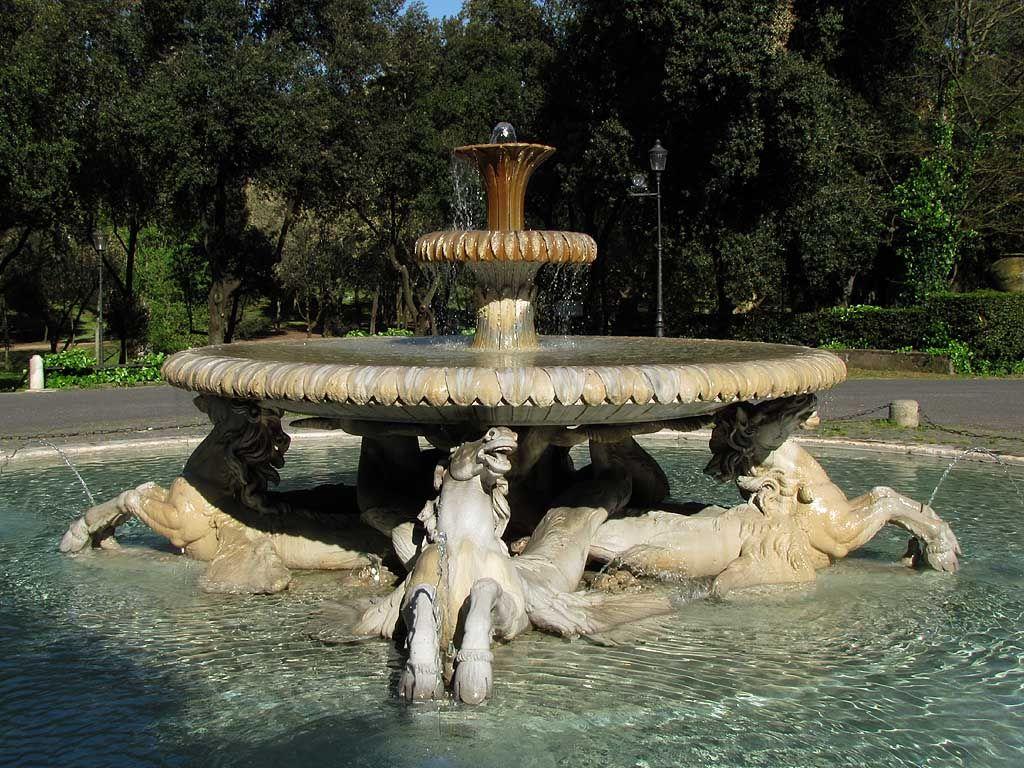 Fontana dei cavalli marini (Fountain of the Sea-Horses), 1791, designed by Cristoforo Untemperger, carved by Vincenzo Pacetti - Villa Borghese gardens Rome