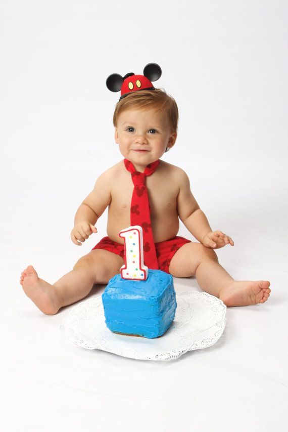 Baby Boy Toddler Mickey Mouse Cake Smash Outfit For First Birthday Includes Tie And Diaper Cover On Etsy 2600