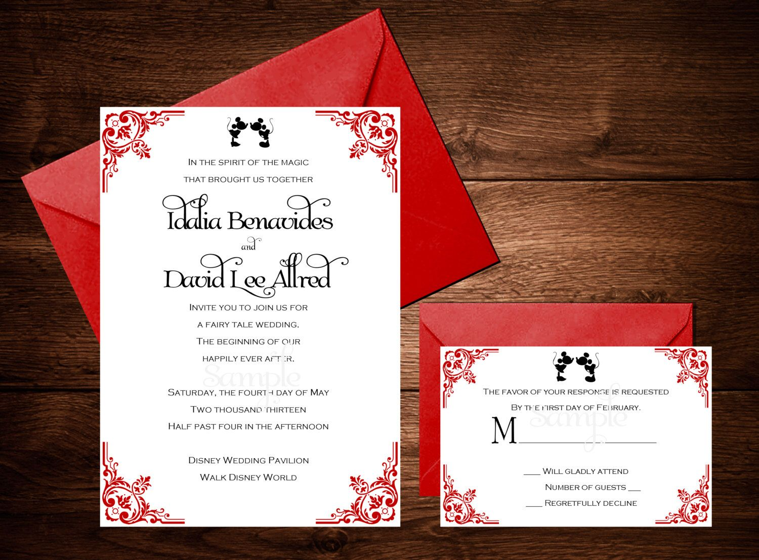 Disney Mickey and Minnie Wedding Invitation Set, Disney Wedding ...