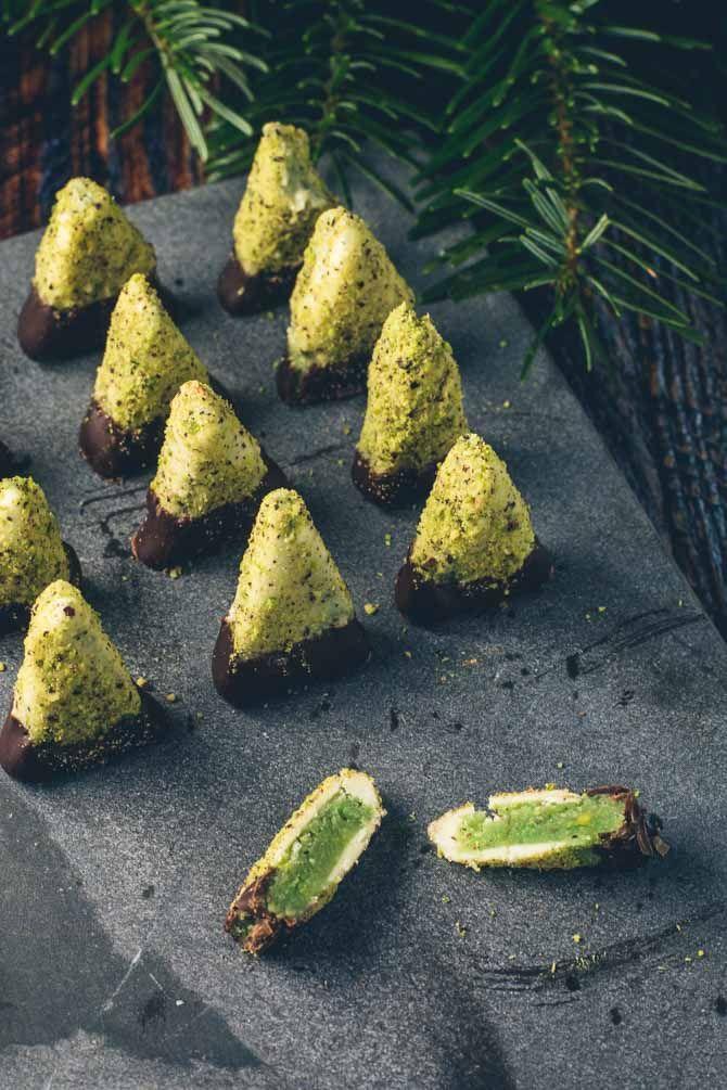 Pistacie juletræer - hjemmelavet konfekt med pistacie #konfektjul