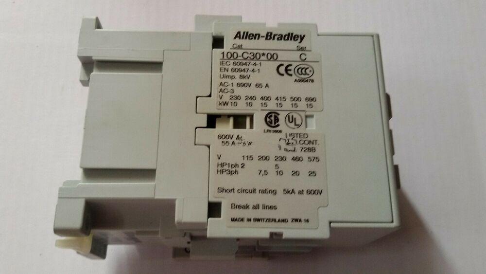 Allen Bradley 100 C30 00 Ser C Contactor Allenbradley In 2020 Ebay Bradley The 100