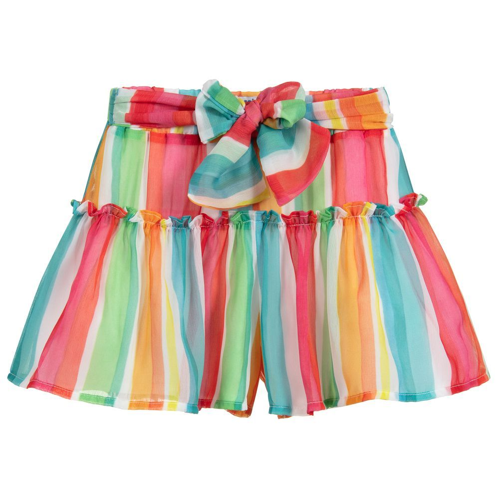 Rainbow Striped Chiffon Shorts