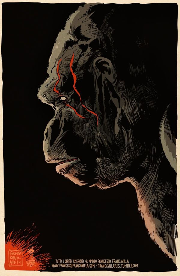 Rise Of The Planet Of The Apes By Francesco Francavilla Planet Of The Apes Movie Art Cinema Posters